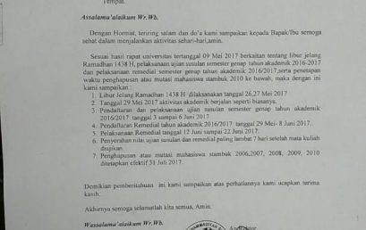 INFO: PENGUMUMAN UJIAN SUSULAN, REMEDIAL, PENGHAPUSAN  DAN MUTASI MAHASISWA