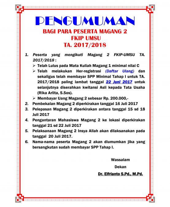PENGUMUMAN MAGANG II